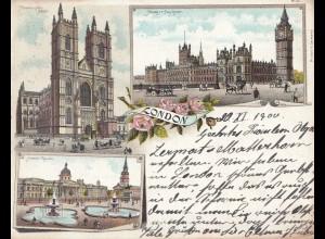 England: Postcard 1900 London to Switzerland