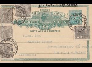 Brazil: 1919: post card par S./S. Cap Arcona from Rio de Janeiro to Berlin