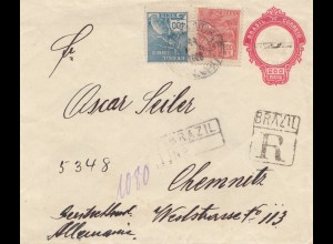 Brazil: 1925: Registered cover to Chemnitz