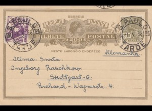 Brazil: 1938: S. Paulo to Stuttgart - post card