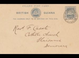 Guiana - British Postage: Inland post card to Maisance