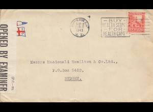 New Zealand: 1943 cover to Sydney, Opened by Examiner- Buy health stamps