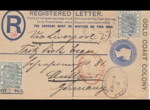 Gold Coast: 1897 Registered letter to Stuttgart- Germany via Liverpool
