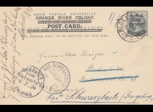 Cape of good hope: 1904 Orange River Colony-post card to Germany-Bad Schwarzbach