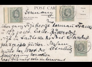 Fiji: post card 1908 Melbourne to Germany