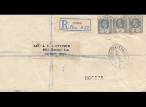 Gold Coast 1928: Registered letter Kumasi to USA Detroit