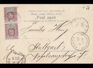 Gold Coast 1904: Post card River Densu Near Nsawom, Accra to Stuttgart/Germany