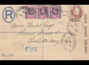 Gold Coast 1907: Colony: Registered letter via Pymouth to Berlin/Charlottenburg