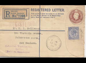 Honduras: 1925: Registered letter Belize to Zew Zealand - COlonial Postmaster