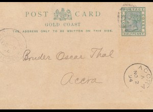Gold Coast 1894: post card to Accra