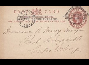 Cape of good hope: 1895: post card british Bechuanaland to Port Elizabeth