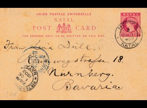 Natal: 1902: post card Drakensberg to Nürnberg/Germany