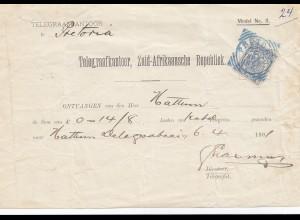 Zuid-Afrikaansche Republick - Telegram Ontvangen 1891 Pretoria