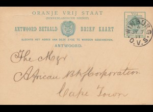 Oranje Vrij Staat, post card 1893 Winburg to Cape Town
