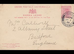 Sierra Leone 1898 Paquebot Liverpool to Bedford/England