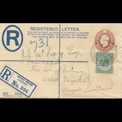 Jamaica 1928: Registered letter Myers Wharf to Glasgow