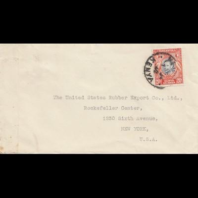 Tanganyika / Kenia/Uganda 1942 to USA, censor