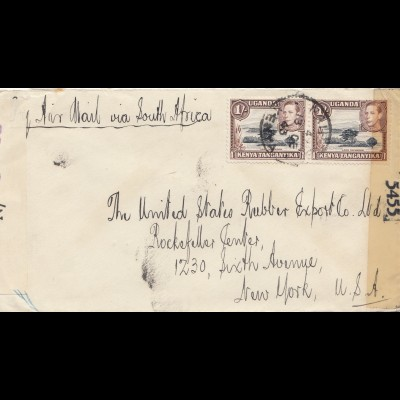 Tanganyika / Kenia/Uganda 1943 to USA, censor