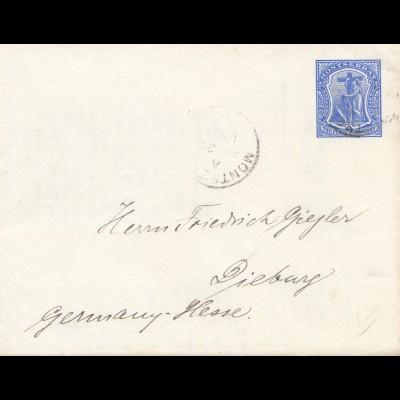 Montserrat: 1909: letter to Dieburg/Germany