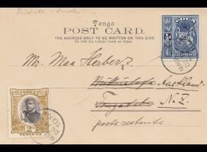 Toga: 1900: post card Neiafu to Auckland