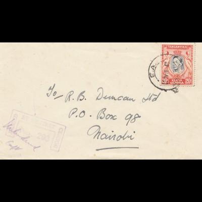 Tanganyika / Kenia/Uganda 1943 to Nairobi, censor