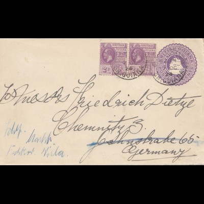British Guiana 1924: letter to Chemnitz from Georgtown