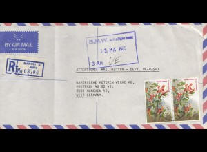 Kenia: Registered air mail from Nairobi 1985 to Munich - BMW