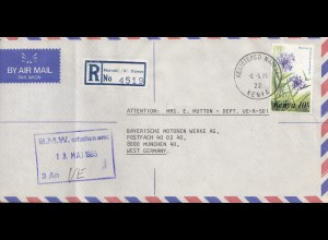 Kenia: 1985: Registered air mail from Nairobi to Munich - BMW