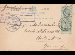 cape of good hope: 1902: Post card to Berlin/Germany