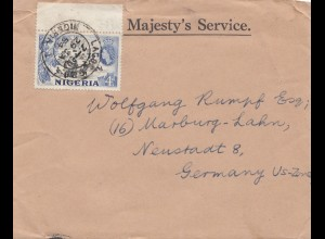 Nigeria: 1954 letter to Marburg, Germany
