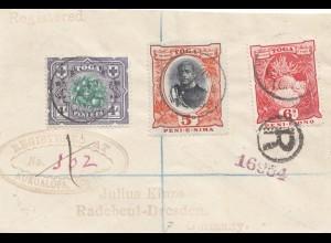 Toga: 1905: letter registered to Radebeul-Dresden