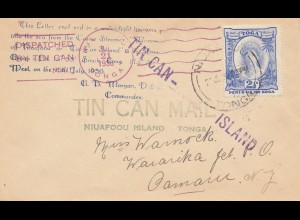 Tonga: letter 1936 via Tin can - Blechdosen Post