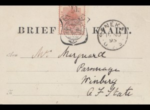 Oranje Vrij Staat, post card 1895 to Winburg