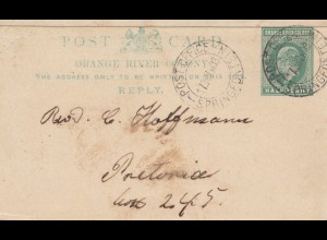 1903: Orange River Colony-post card Springfontain to Pretoria
