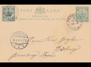Bermuda: post card 1909 Hamilton to Dieburg
