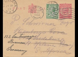 St. Helena: 1922 post card via Aberdeen to Bremen/Germany