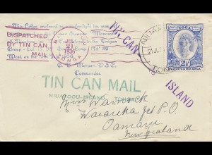 Toga: Tin can Mail - to New Zealand, Blechdosenpost