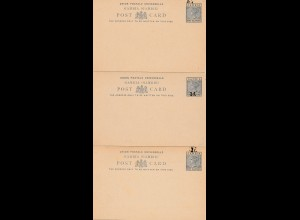 Gambia: postcard unused 5x, 1x overprint double, 1x with reply card (last one)