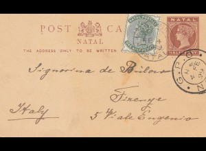 Natal: 1899 post card to Italy/Firenze