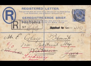 South Africa: 1919: registered letter from Pretoria to Java - then Sydney