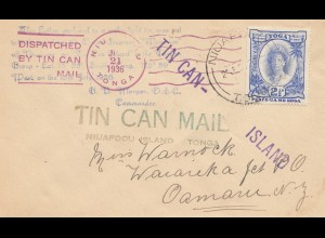 Tin can Mail - Blechdosenpost - to New Zealand 1936