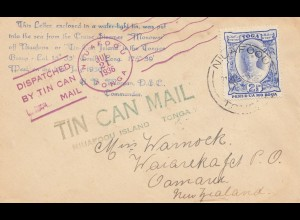 Tonga: Tin can Mail - Blechdosenpost - to New Zealand 1936