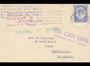 Toga: Tin can Mail - Blechdosenpost - to New Zealand 1936