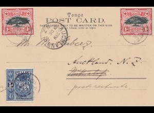 Tonga/Toga: 1900 post card Neiafu Vavau, to New Zealand
