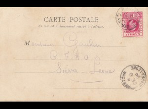 Gambiua: post card 1904 - Matam/Sudan to Sierra Leone