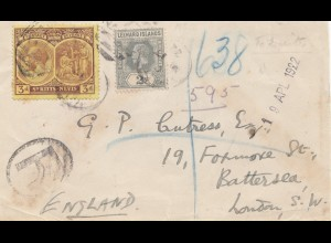 Leeward Islands: 1922 registered to Battersea/London