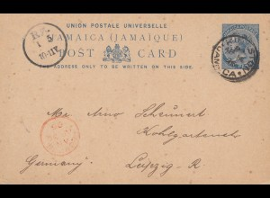 Jamaica: 1926: post card to Leipzig