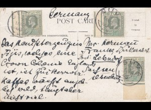 Fiji: 1908: post card Melbourne to Germany