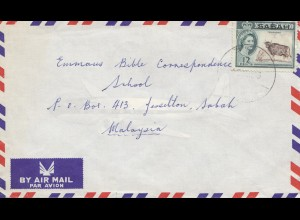Sabah: North Borneo: Air mail letter to Malaysia