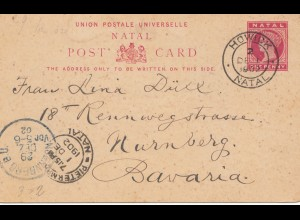 Natal: 1902: post card Howick to Nürnberg/Germany